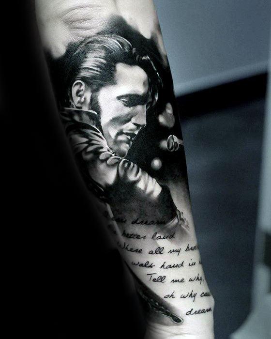 60 Elvis Presley Tattoos für Männer - König der Rock'n'Roll-Design-Ideen