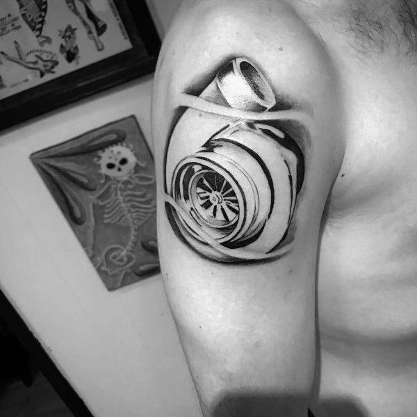 50 Turbo Tattoo Ideen für Männer - Turbocharged Designs
