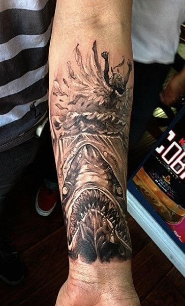 90 Shark Tattoo Designs für Männer - Top der Unterwasser-Food-Kette