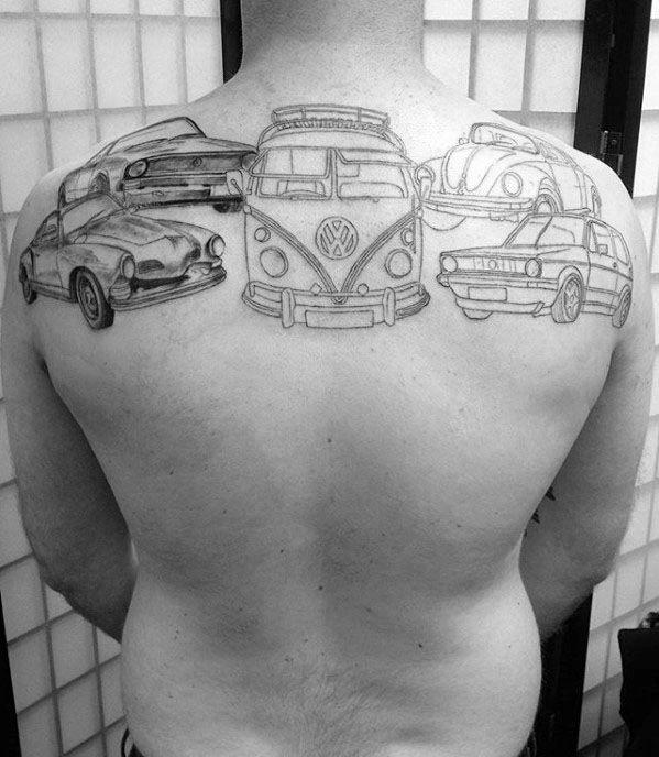 50 Volkswagen VW Tattoos für Männer - Automotive Design-Ideen