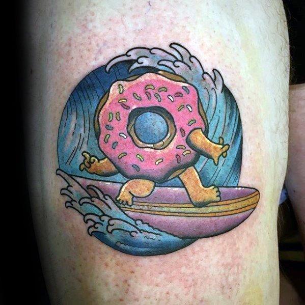 50 Donut Tattoo Designs für Männer - Süßigkeiten Tinte Ideen