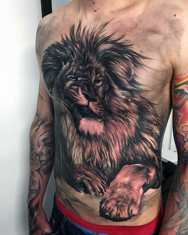 70 Löwen Brust Tattoo-Designs für Männer - heftige Animal Ink Ideen