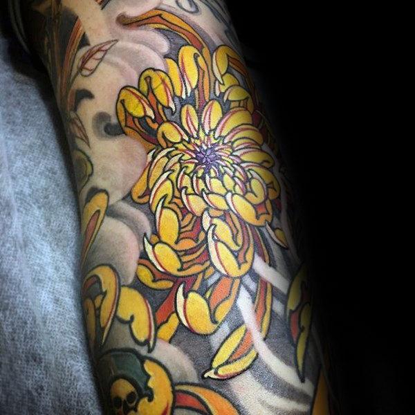 100 Chrysantheme Tattoo Designs Für Männer Blumen Tinte