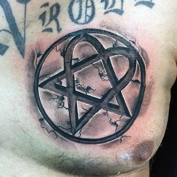 30 Heartagram Tattoo Designs für Männer - Symbolic Ink Ideas