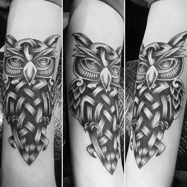 30 keltische Eule Tattoo Designs für Männer - Knot Ink Ideen