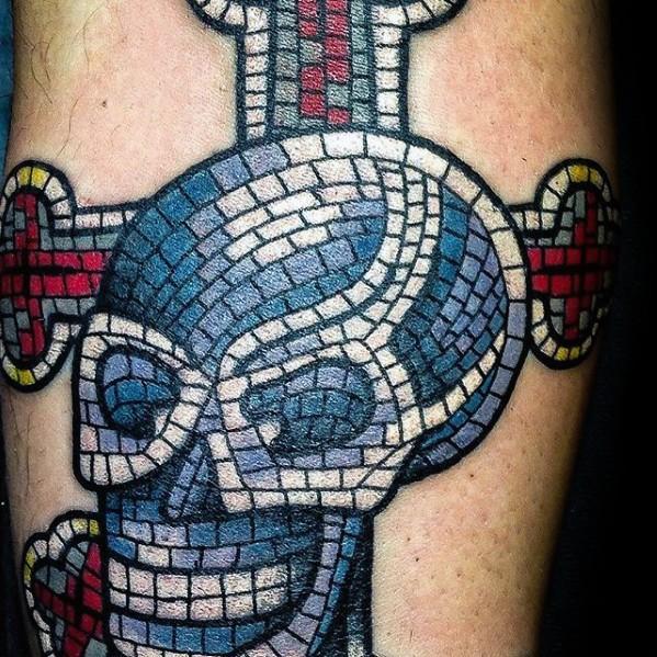 50 Mosaik Tattoo Designs für Männer - dekorative Tinte Ideen