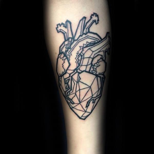 50 geometrische Herz Tattoo Designs für Männer - symmetrische Ideen