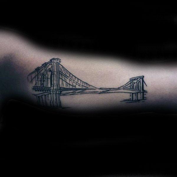 60 Brooklyn Bridge Tattoos für Männer - New York City Design-Ideen