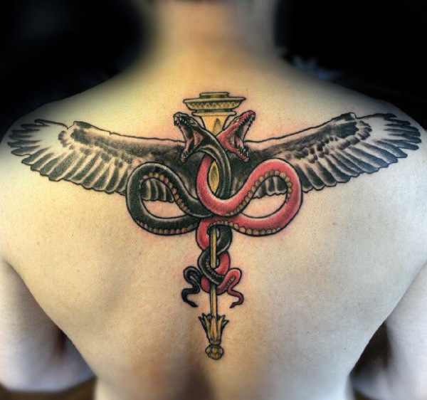 60 Caduceus Tattoo Designs für Männer - Manly Ink Ideen