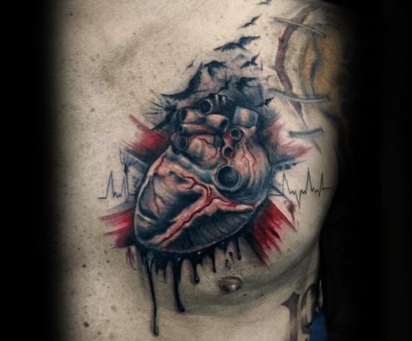40 gebrochenes herz tattoo designs für männer  split ink