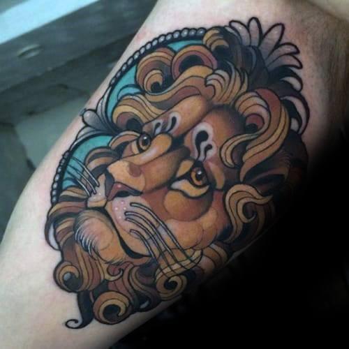 30 Neo traditionellen Löwen Tattoo Designs für Männer - Manly Ink Ideen