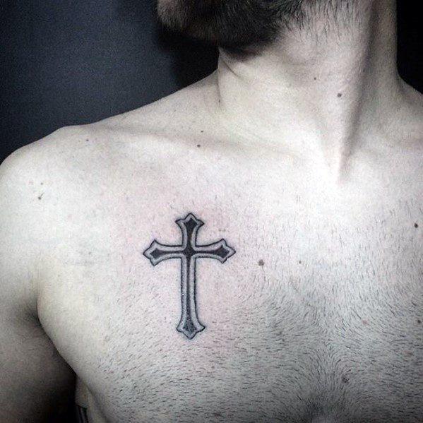 50 einfache Kreuz Tattoos für Männer - religiöse Tinte Design-Ideen
