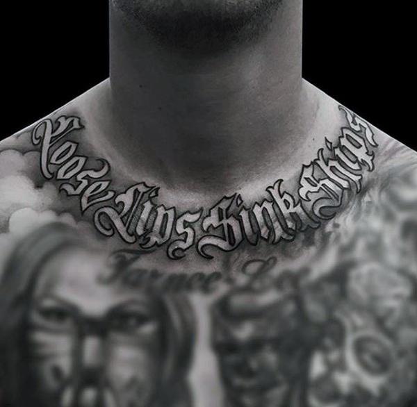 50 alte englische Tattoos für Männer - Retro Font Ink Design-Ideen