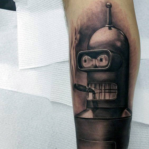 40 Bender Tattoo Designs für Männer - Futurama Robot Ink Ideas
