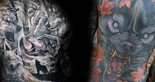 40 Wolf zurück Tattoo Designs für Männer - heftige Tinte Ideen