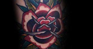 50 traditionelle Rose Tattoo Designs für Männer - Blumen-Tinte-Ideen