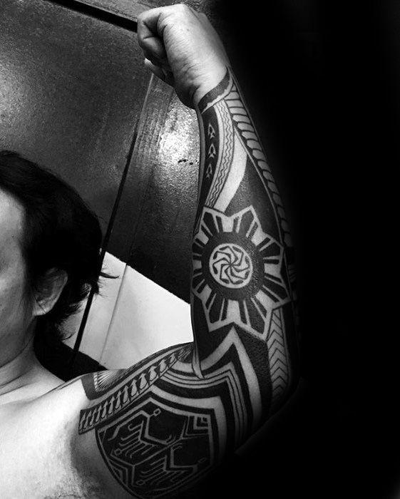 50 Filipino Sun Tattoo Designs Für Männer Tribal Ink Ideen Mann