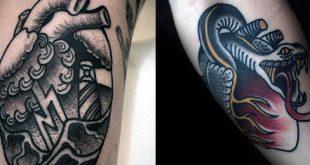 50 traditionelle Herz-Tattoo-Designs für Männer - Devotion Ink Ideen