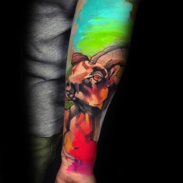 100 Ziegen Tattoo-Designs für Männer - Tinte Ideen mit Hörnern