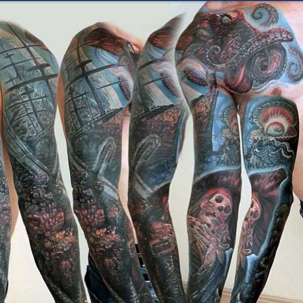 40 Ocean Sleeve Tattoos für Männer - Unterwasser Tinte Design-Ideen