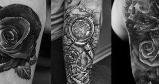 Top 35 Beste Rose Tattoos für Männer - eine komplizierte Blume