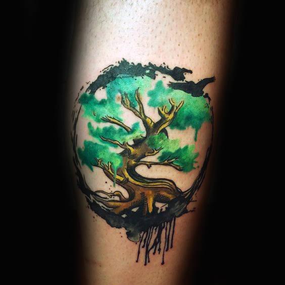70 Aquarell Baum Tattoo Designs Für Männer Manly Nature