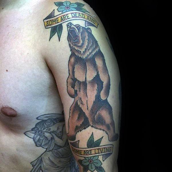 50 traditionelle Bär Tattoo Designs für Männer - Old School-Ideen