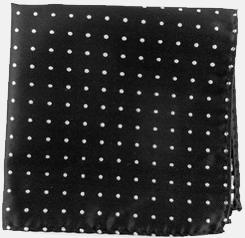Seide schwarz und weiß Polka Dot Einstecktuch