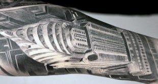 90 Building Tattoos für Männer - Architektur Ink Design-Ideen