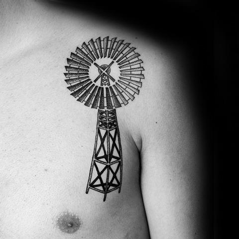 50 Windmill Tattoo Designs für Männer - Rotational Ink Ideas