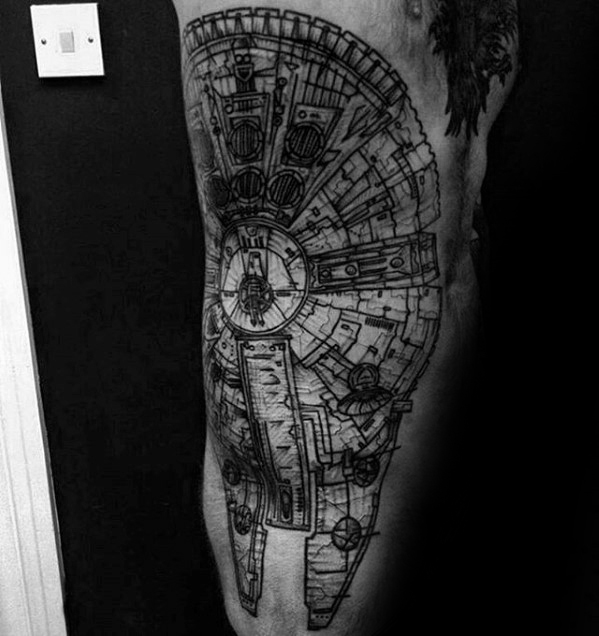 50 Millennium Falcon Tattoo Designs für Männer - Star Wars Ideen