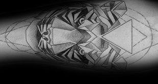 50 geometrische Tiger Tattoo Designs für Männer - gestreifte Geometrie Ideen