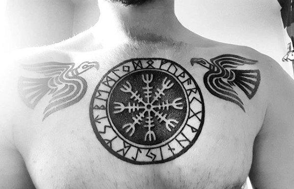 40 Helm der ehrfürchtigen Tätowierung entwirft für Männer - Skandinavier-Mythologie-Ideen