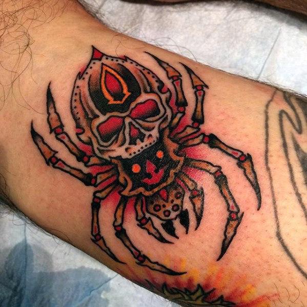 50 traditionelle Spinnen Tattoo Designs für Männer - Webs of Old School Ideen